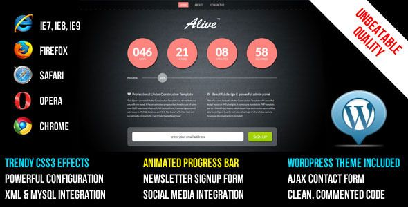 ALIVE Under Construction Template and WP Theme   http://themeforest.net/item/alive-under-construction-template-and-wp-theme/510226?ref=damiamio       A brand new Under Construction template (which comes as a WordPress Theme too!). Unlike other templates here, this one has some additional features like unlimited content pages and a separate contact details / contact form page. Now you can extend your site however you want! There are some great looking CSS3 effects, jQuery powered, animated…