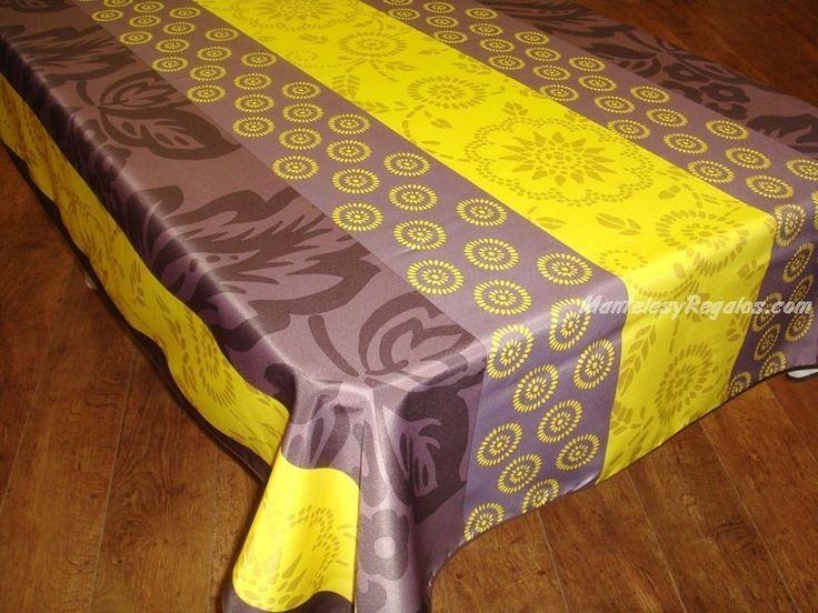 Mantel Antimanchas de Poliéster - Modelo ROSACE - Amarillo
