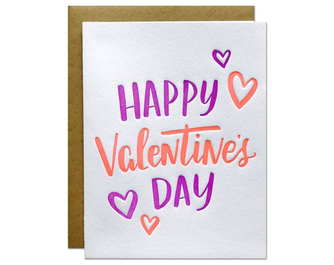 Happy Valentines Day wishes sent with vibrant neon inks.  size :: A2 {4.25 x 5.5} method :: letterpress printed in the USA paper :: 100% cotton paper with neon red and neon purple ink with kraft envelope packaging :: each card is packaged in a cello bag and mailed in a no-bend mailer