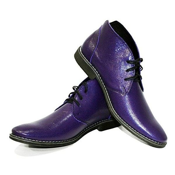 Modello Chubrio Handmade Italian Leather Mens Purple Ankle Chukka... ($155) ❤ liked on Polyvore featuring men's fashion, men's shoes, men's boots, mens suede shoes, mens suede lace up shoes, mens chukka shoes, mens suede lace up boots and mens boots