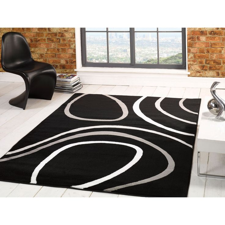 Flair Sincerity Modern Spiro Black Rug