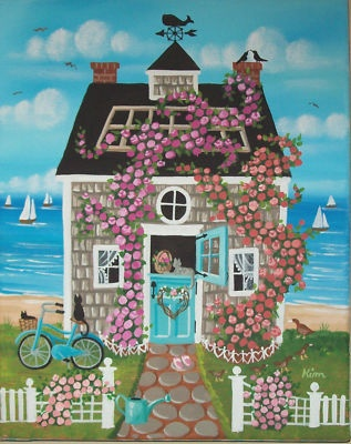 Seaside Cottage Roses Bike Cat Ducks Folk Art Print hangs in a guesthouse showing my love for the Nantucket saltbox with roses