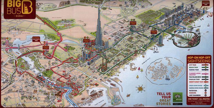 https://flic.kr/p/DV8qyd | Big Bus Dubai; 2015_2, illustrated map, UAE | tourism travel brochure | by worldtravellib World Travel library