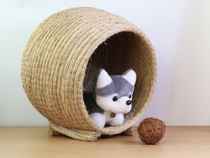 Simple rustic handwoven pet bed/ dog cat rabbit bed/pet bedding supply/pet breeding nest/grass dog cave bed/organic pets accessories by GrasShanghai on Etsy