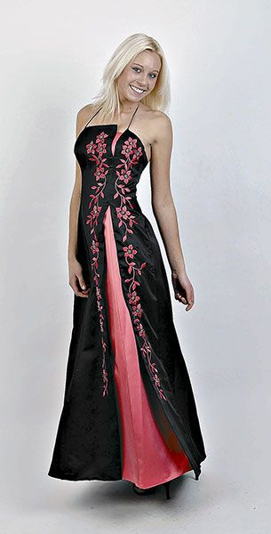 Black and pink dress with floral design