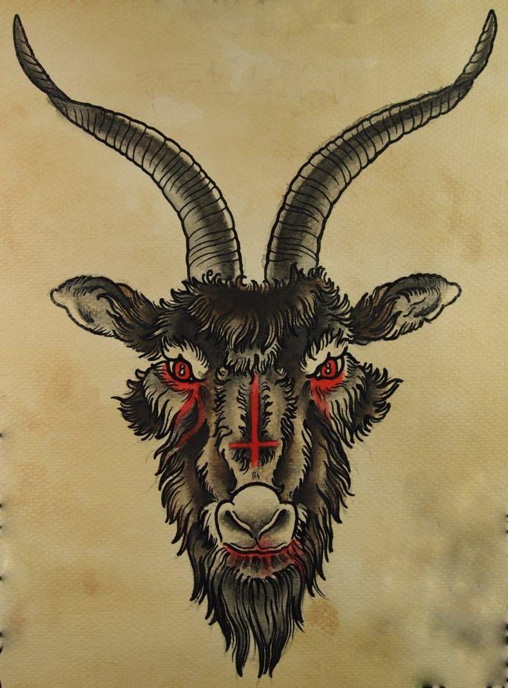 inverted cross goats head tattoo art pinterest goats tattoo and tatting. Black Bedroom Furniture Sets. Home Design Ideas