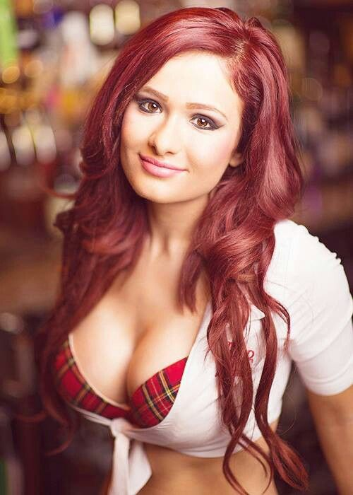 in plaid red redhead