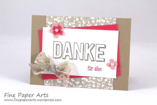 Stampin' up! Karte Danke, Thank you card, Stempelset Dankbar für Dich, Stampset For being you, DSP Trau Dich, DSP Something Borrowed - Fine Paper Arts