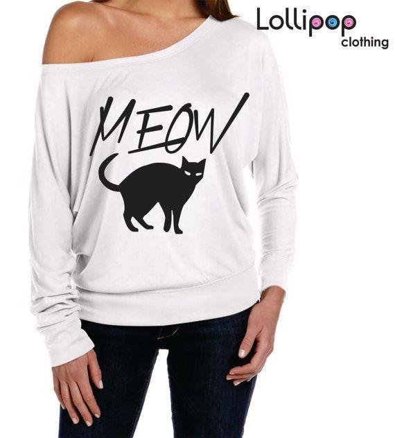 Meow shirt.Women long sleeve shirt.Off The by Lollipopclothing