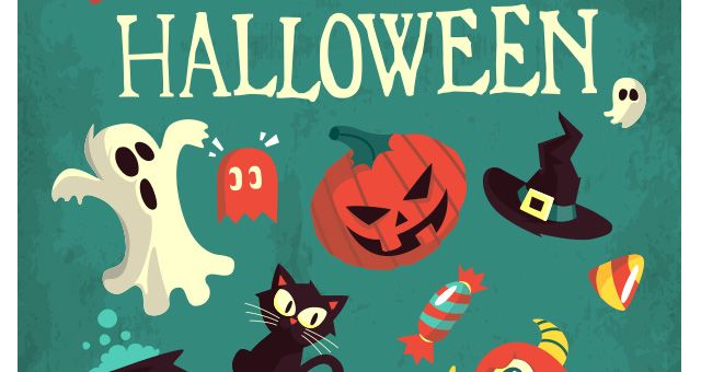 A new mix of Halloween vector art and Halloween vector graphics with spiders, bats, skulls, cats, monsters, candy and many more vector Halloween illustrations. The design is perfect to go with any flat colorful project.