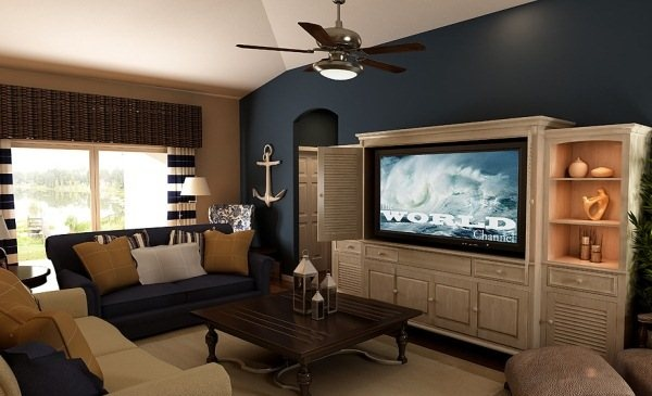 Nautical With Blue Accent Wall Living Room In Our