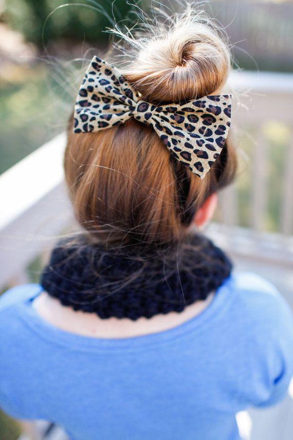CheetahHAIR BOW cotton fabric Bow for teens by ClipaBowBoutique, $3.79