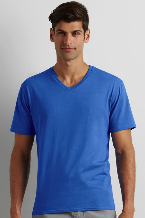 Tricou V-Decolteu Premium Cotton Gildan | Logofashion Aceste tricouri Gildan se pot personaliza la cerere prin print sau broderie. #tricouripersonalizate #tricourigildan #tricouripromotionale