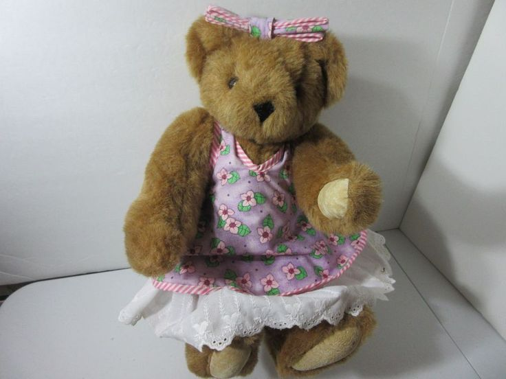 Vermont Teddy Bear Jointed Bear Flowered Dress Embroidered 1997 #VermontTeddyBear #AllOccasion