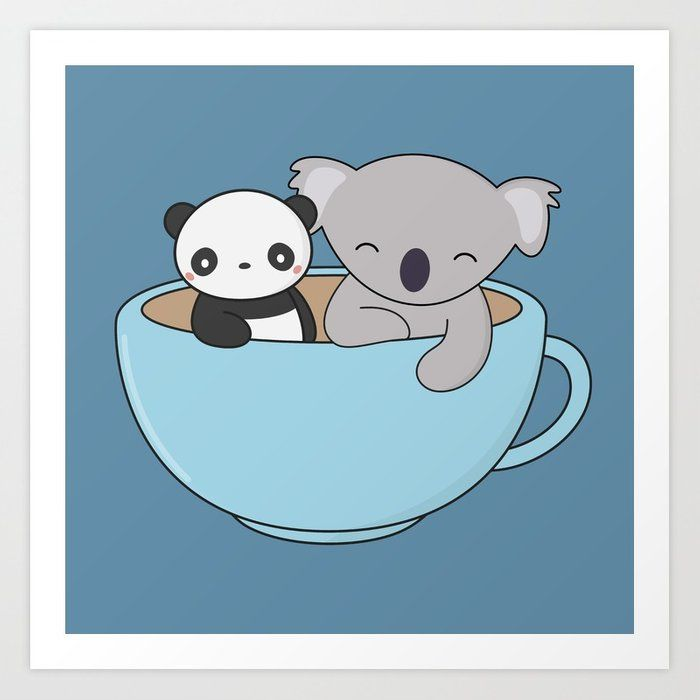 Buy Kawaii Cute Koala And Panda Art Print By Wordsberry Worldwide Shipping Available At Society6 Com Just One Of M Koala Drawing Panda Art Cute Panda Drawing