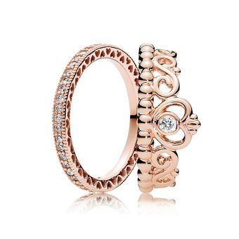 PANDORA Rose Princess Tiara Ring Stack