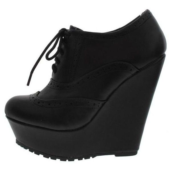 BOOTH30L BLACK WINGTIP OXFORD WEDGE BOOT ($11) ❤ liked on Polyvore featuring shoes, boots, black wingtip boots, oxford boots, wing tip boots, flat heel boots and black wedge heel boots