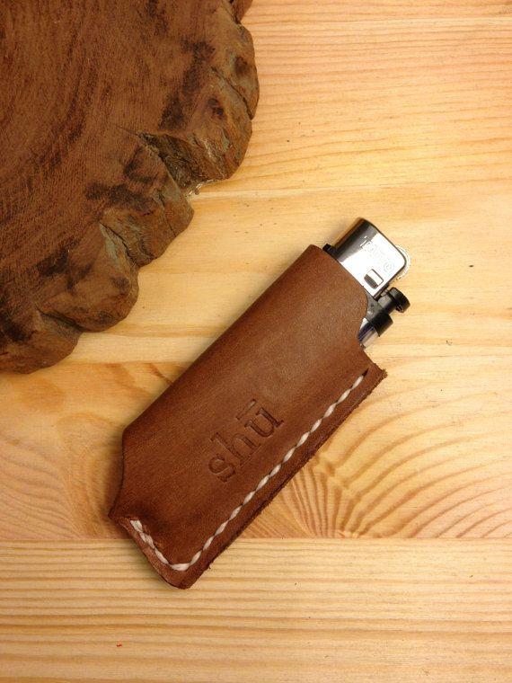 lighter case - brown leather - handmade