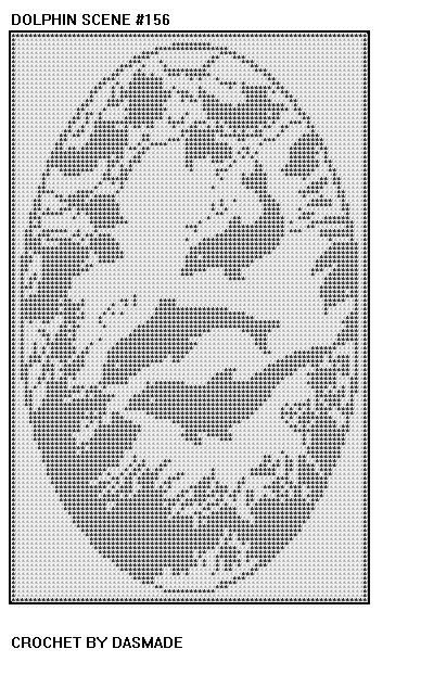 DOLPHIN SCENE FILET CROCHET DOILY AFGHAN PATTERN ITEM 156 via Etsy