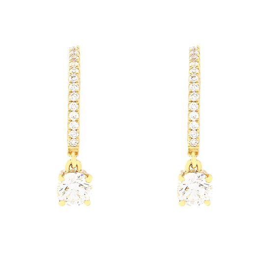 18 CARAT YELLOW GOLD DIAMOND HOOP EARRINGS