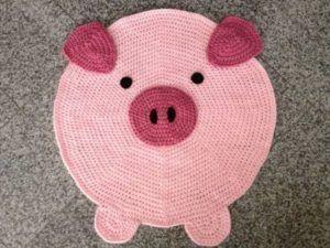 tapetes de barbante de desenho porco porquinho                                  …