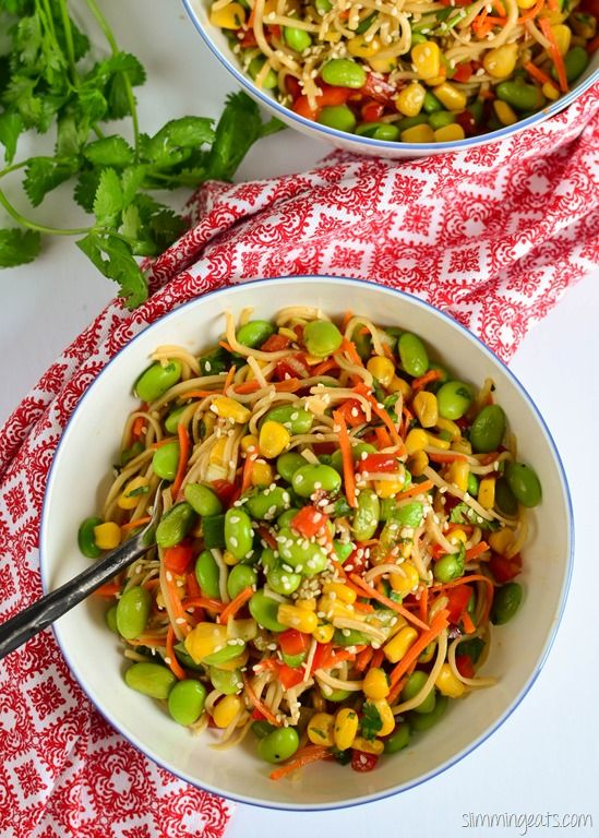 Slimming Eats Edamame and Noodle Salad Bowl - dairy free, vegetarian, Slimming World and Weight Watchers friendly