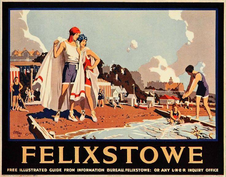 1933 Felixstowe Beach LNER J Littlejohns Mini Poster Original POSA6 | eBay