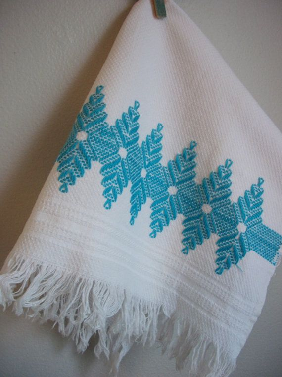 vintage turquoise tea towel // swedish weave by FightingforJoy