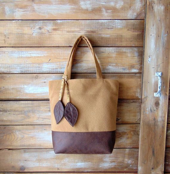 Leaf Tote Bag Nature Handbag Faux Leather Purse by JannysGirl