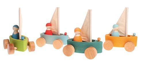 Grimm's Set of 4 little Land Yachts with Sailors – The Creative Toy Shop