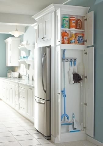 Home Decor. House Remodel. Small space organization. Studio organization. College dorm organization. White cabinet in kitchen organization.
