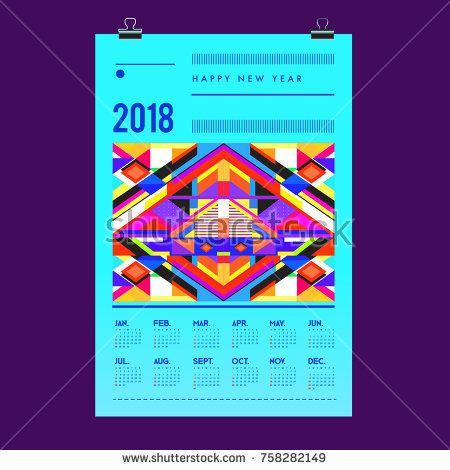 Set of Wall Calendar 2018 template design with Colorfull Background Pattern