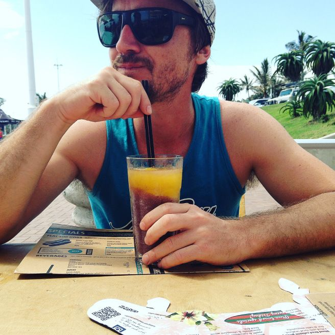 Ice cold, sweet & sour orange & granadilla slush @ Surf Riders Food Shack on South Beach, Durban. Click for the full restaurant review.