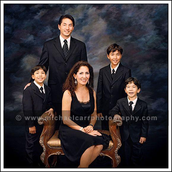 Formal in studio family portrait of 5 houston family portrait photographers michael carr photography
