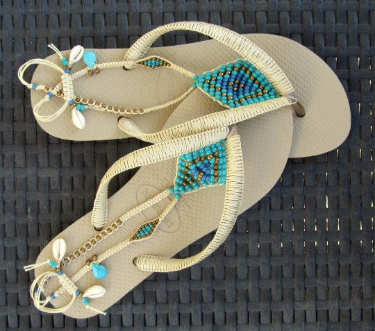 BOHO handmade sandals turquoise & gold bronze beaded Beige Sand Gray Light Golden Havaianas flip flops slippers flat thong shoes