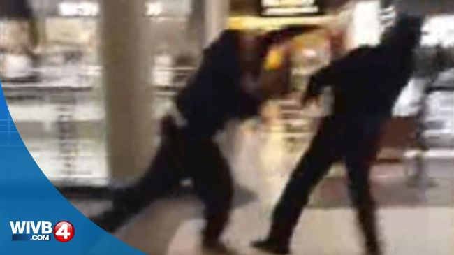 Please be warned, there is profanity in this uncut video captured on the scene of what one man says is a mall brawl.