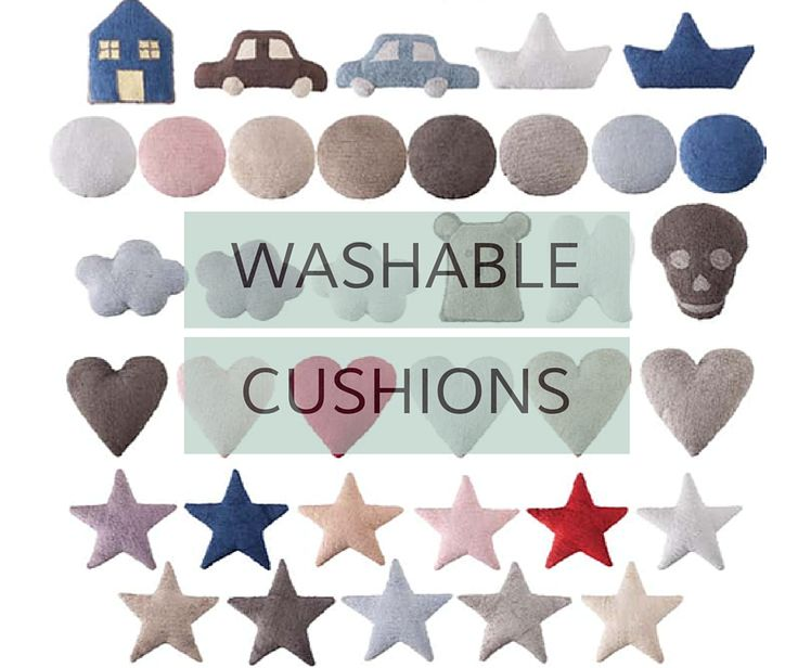 Washable kids pillows and cushions in fun shapes like stars, skulls, hearts and cars. Shop lorenacanals.com for more cute kids pillows you can wash in the machine!