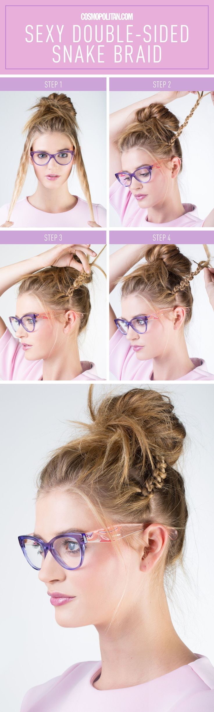 MESSY BUN SNAKE BRAID TUTORIAL: On days when looking perfect is just impossible and you only have a few minutes to get out the door, never fear: the snake braid is here. Hairstylist Cash Lawless came up with a new twist on a traditional braid for Cosmopolitan.com. Click through to learn how exactly to execute this relaxed and pretty style. Find more easy and gorgeous hair ideas and tutorials at Cosmopolitan.com.