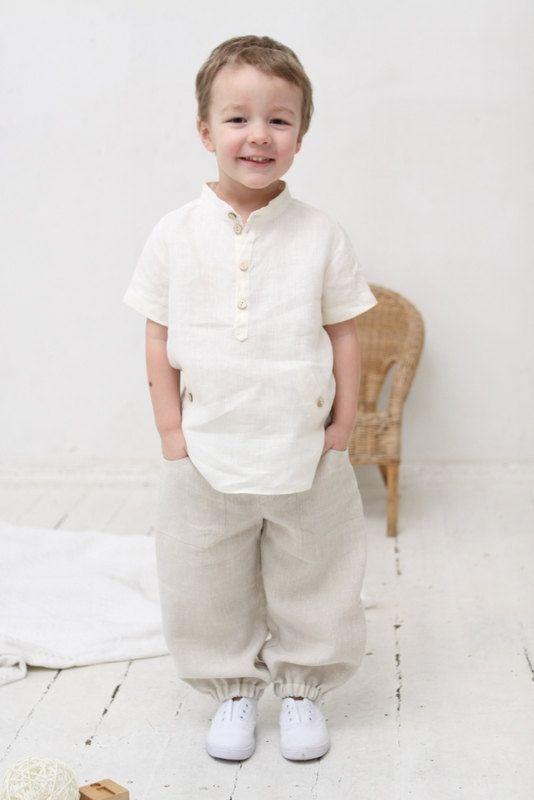 Boys natural linen shirt Toddler boy short sleeve shirt