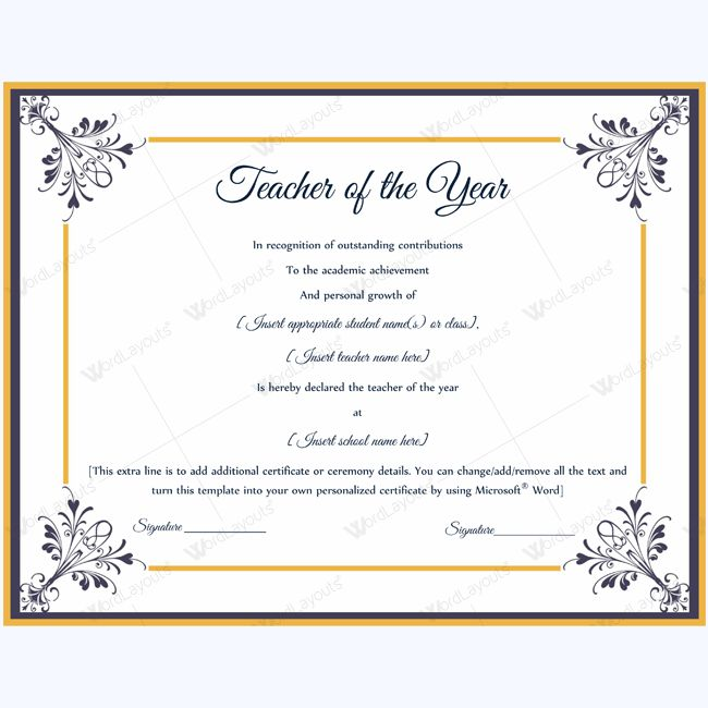 13 best Teacher of the Year Award Certificate Templates images on - microsoft word certificate templates