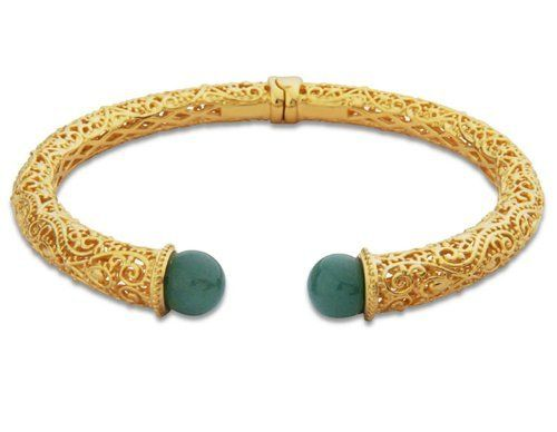 18k Gold Over Sterling Silver Green Adventurine Scrollwork Cuff Bracelet Joolwe. $184.99. Save 56% Off!