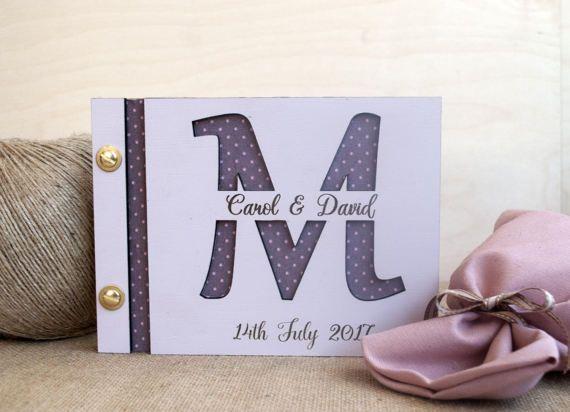 rustic wedding guest book / initial guest book / wood wedding