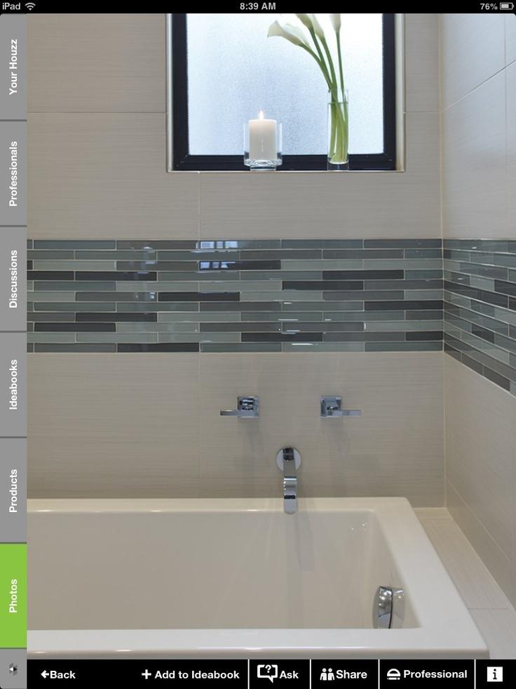 White and glass tile border bathroom pinterest glass for Mosaic tiles ideas for bathroom