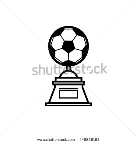 Trophy soccer ball icon, line art vector Illustration.