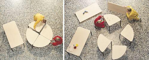 7 tavolini che diventano un unico tavolo! Idea incredibile per chi ha poco spazio :)