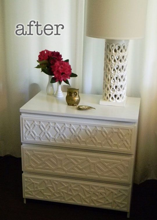 Fancy up an inexpensive dresser with overlays and paint! This used to be a plain ikea malm dresser!