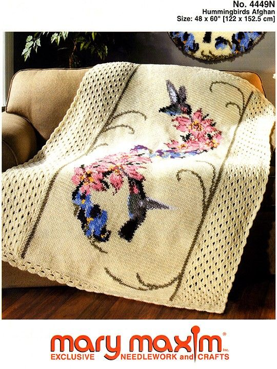 Hummingbirds Afghan - Crochet this afghan using Mary Maxim Worsted Weight yarn.