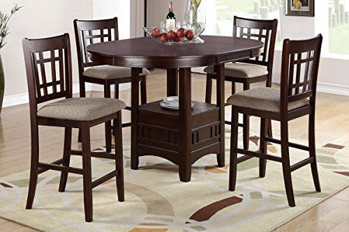 Poundex F2345 & F1205 Brown Finish W/ Beige Fabric Counter Height Dining Set