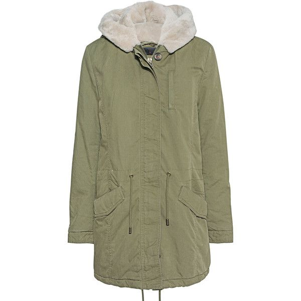 IQ BERLIN Parka Oliv // Parka with removable fur trim (£515) ❤ liked on Polyvore featuring outerwear, coats, green fur parka, fur hooded parka, olive green parka, olive green coat and fur parka