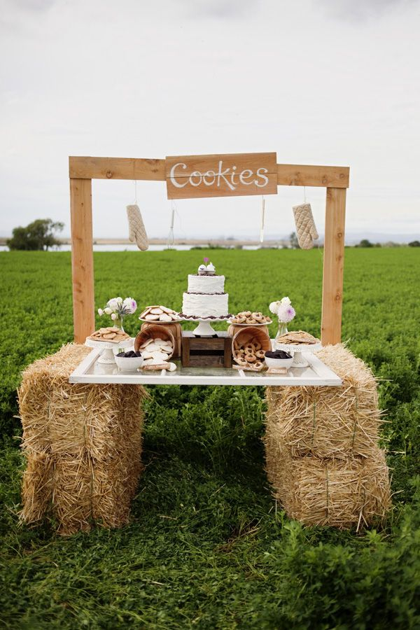 hay bales for outdoor BBQ...um I don't think cookies will be on the menu? But I like the look!